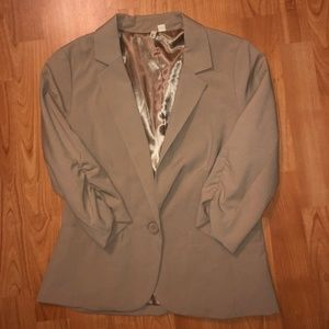 Frenchi Three Quarter Sleeve Tan Blazer Small